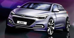 2015 Hyundai i20 sketch shows a squarer second generation city hatch