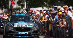 Jaguar F-Pace shown in Team Sky Tour de France livery