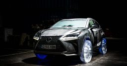 Lexus NX fitted with working wheels, tires sculpted from ice