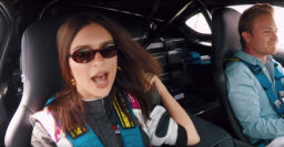 """Watch Emily Ratajkowski say """"holy shit"""" during a hot lap with Nico Rosberg"""