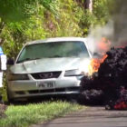 Kilauea's lava swallows Ford Mustang on Hawaii's Big Island