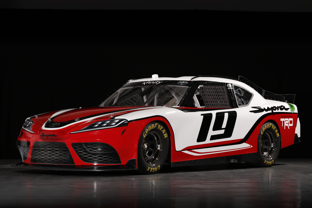 a90 toyota supra provides look for 2019 nascar xfinity series race car between the axles. Black Bedroom Furniture Sets. Home Design Ideas
