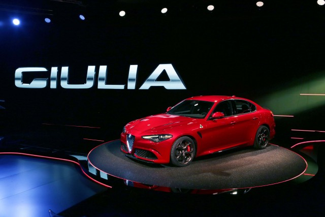 Type 952 Alfa Romeo Giulia Quadrifoglio Verde - front, profile, red, at launch event