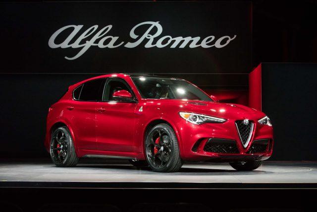 2018 Alfa Romeo Stelvio Quadrifoglio - front, red, world debut at 2016 LA Auto Show
