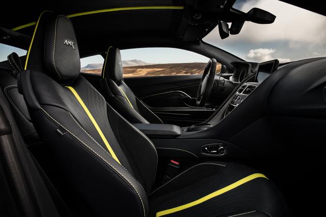 2018 Aston Martin DB11 AMR Signature Edition - interior, black with yellow stripe