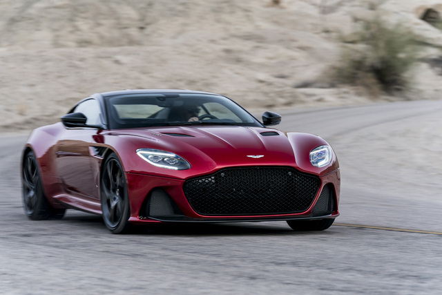 2019 Aston Martin DBS Superleggera - front, cornering, red