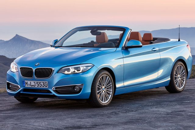 F23 Bmw 2 Series Convertible Facelift Front Light Blue Top Down