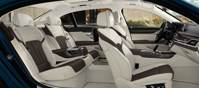 2017 BMW 7-Series 40 Jahre - front and rear seats, white/cohiba leather