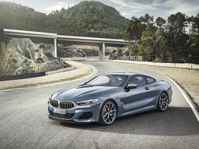 2019 BMW 8-Series coupe - front, blue