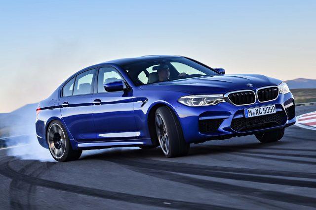 2018 F90 BMW M5 sedan - front, sideways, blue