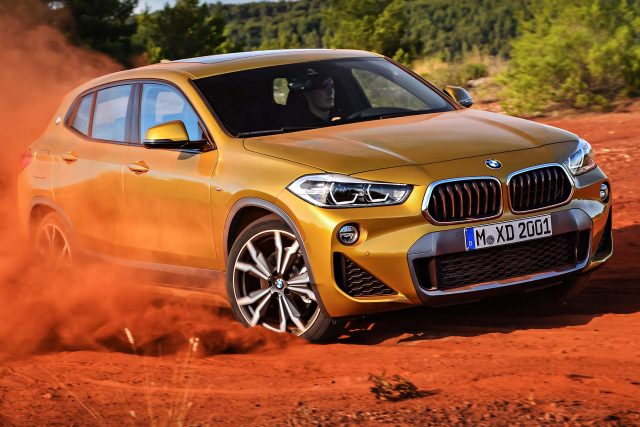 2018 BMW X2 (F39) - front, driving, dirt, dust, gold