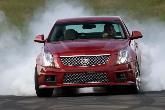 2009 Cadillac CTS-V - front, red, burnout, smoke