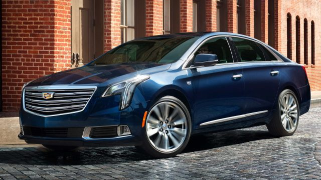 2018 Cadillac XTS Platinum facelift - front, blue