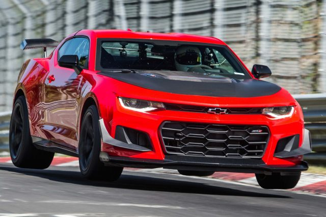 2018 Chevrolet Camaro ZL1 1LE on the Nurburgring Nordschleife - front, red, airborne
