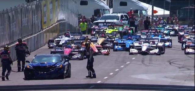 Mark Reuss crashes Corvette pace car at 2018 IndyCar Detroit Grand Prix