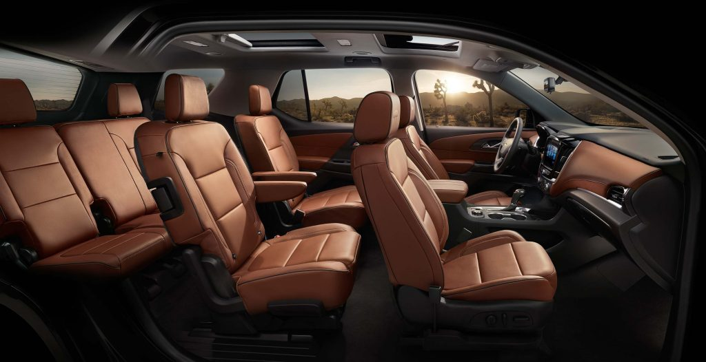 2018 Chevrolet Traverse - seating layout with first, second and third rows