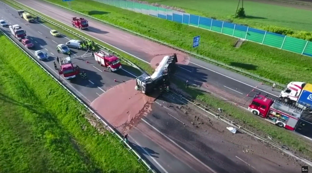 Liquid chocolate spilled across Polish highway