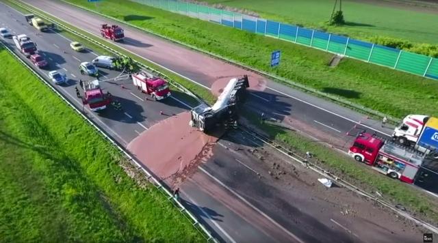 Liquid chocolate spilled across Polish highway