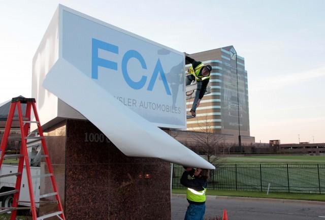FCA sign erected at Auburn Hills HQ