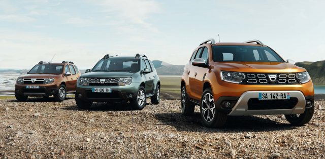 2017 Dacia Duster with first generation and first-gen facelift