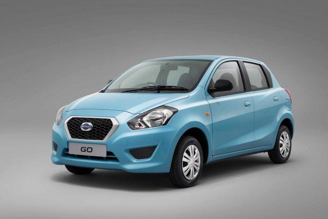 2014 Datsun Go - front, aqua blue