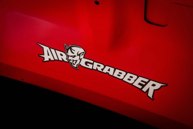 The Air-Grabber™ logo on the underside of the hood of the 2018