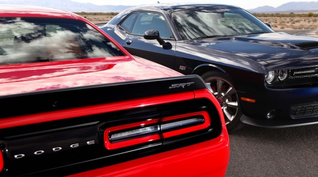 2015 Dodge Challenger SRT Supercharged (left) and Dodge Challenger SRT (right)