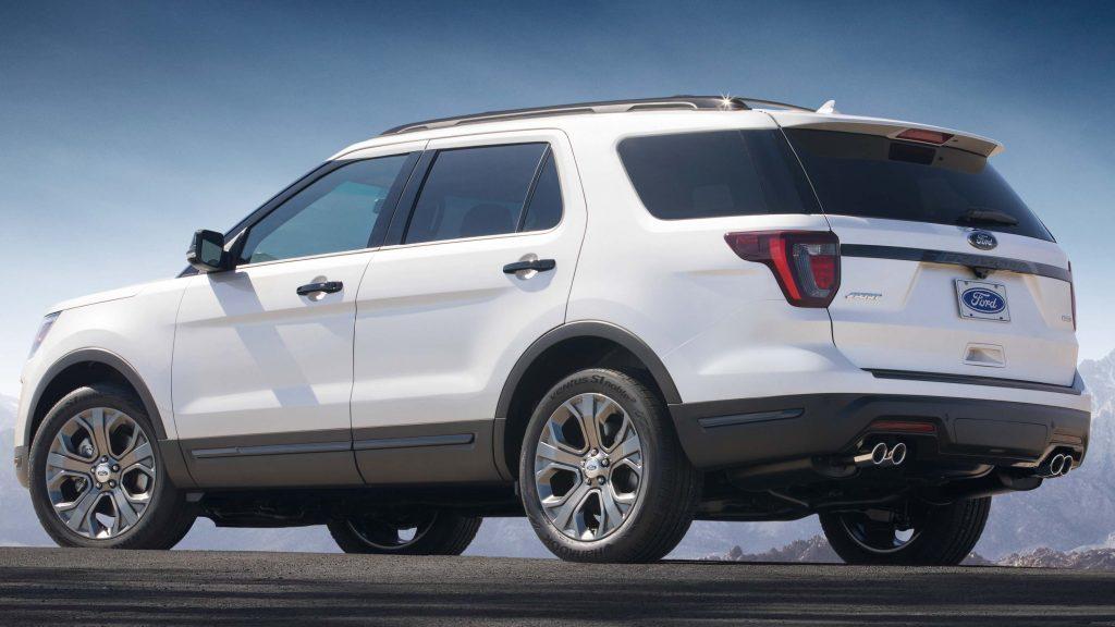 2018 Ford Explorer Sport - rear, white