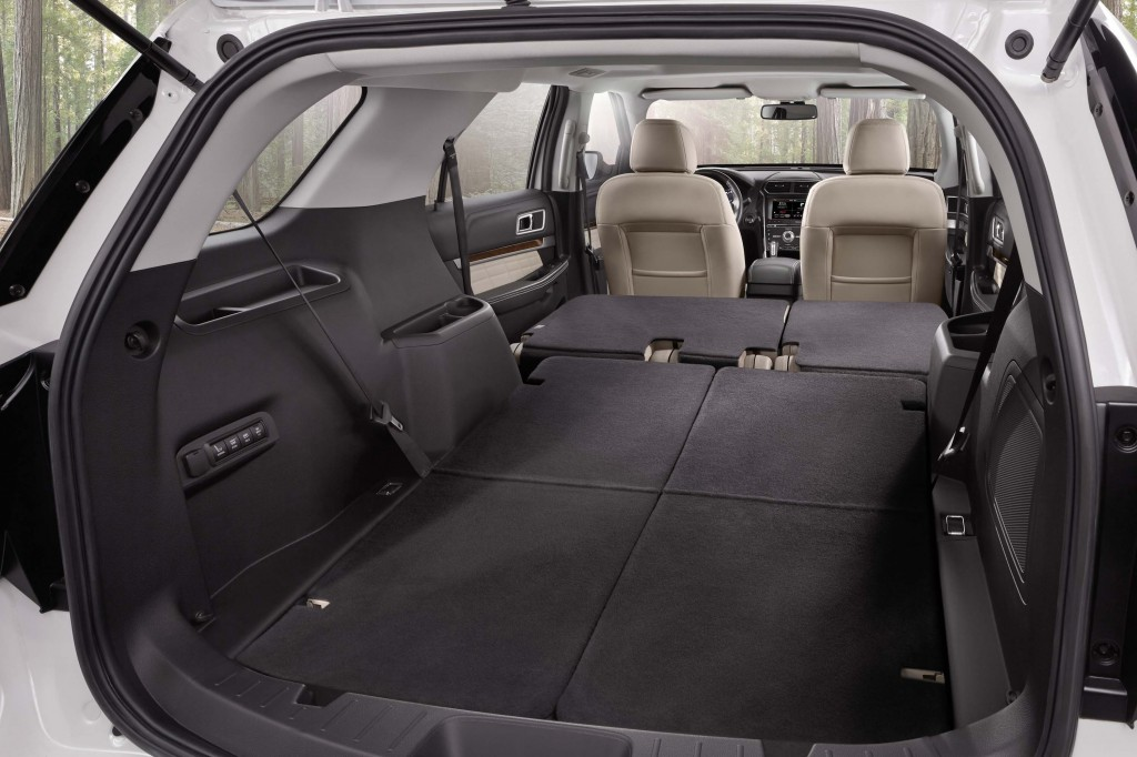 U502 Ford Explorer facelift - trunk with seats folded down, max capacity 80.7 cubic feet (2285L)