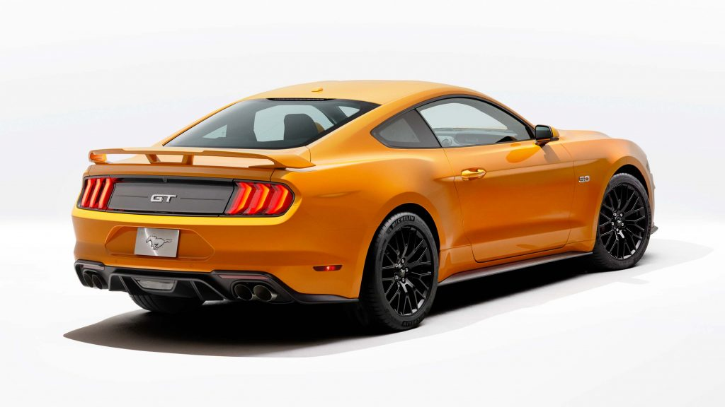 2018 Ford Mustang V8 GT - yellow, rear