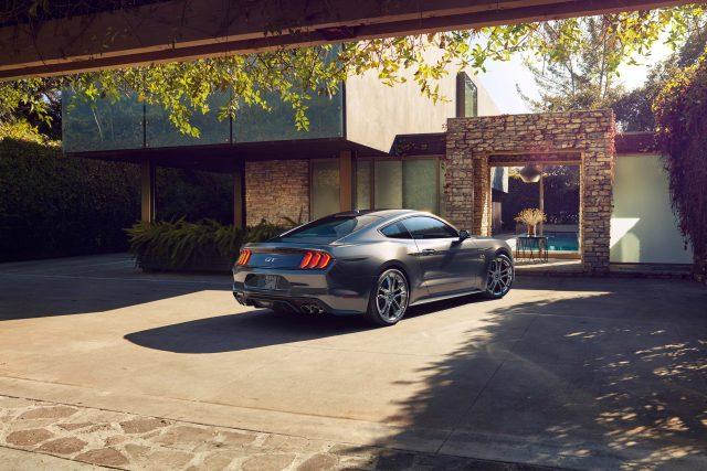 2018 Ford Mustang V8 GT - gray, rear