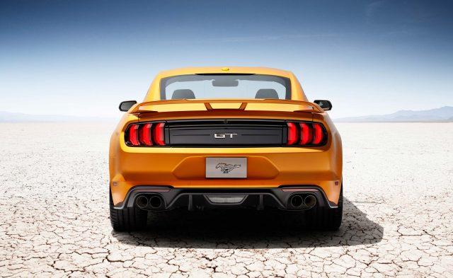 2018 Ford Mustang V8 GT - yellow, rear, desert