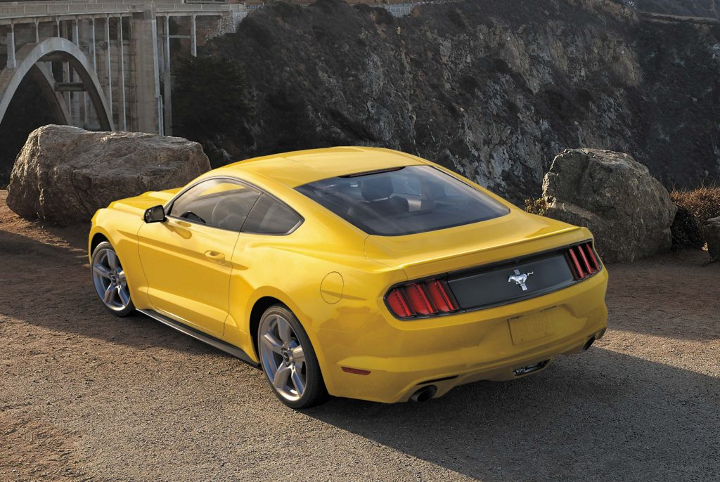2017 Ford Mustang - coupe, yellow, rear