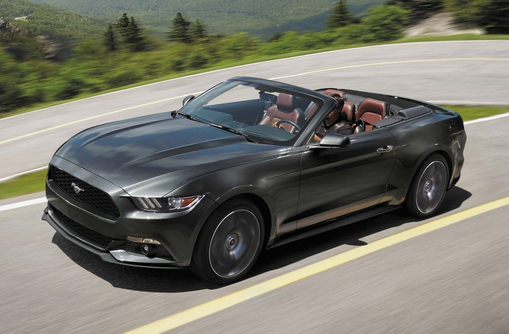 2017 Ford Mustang convertible, front, gray