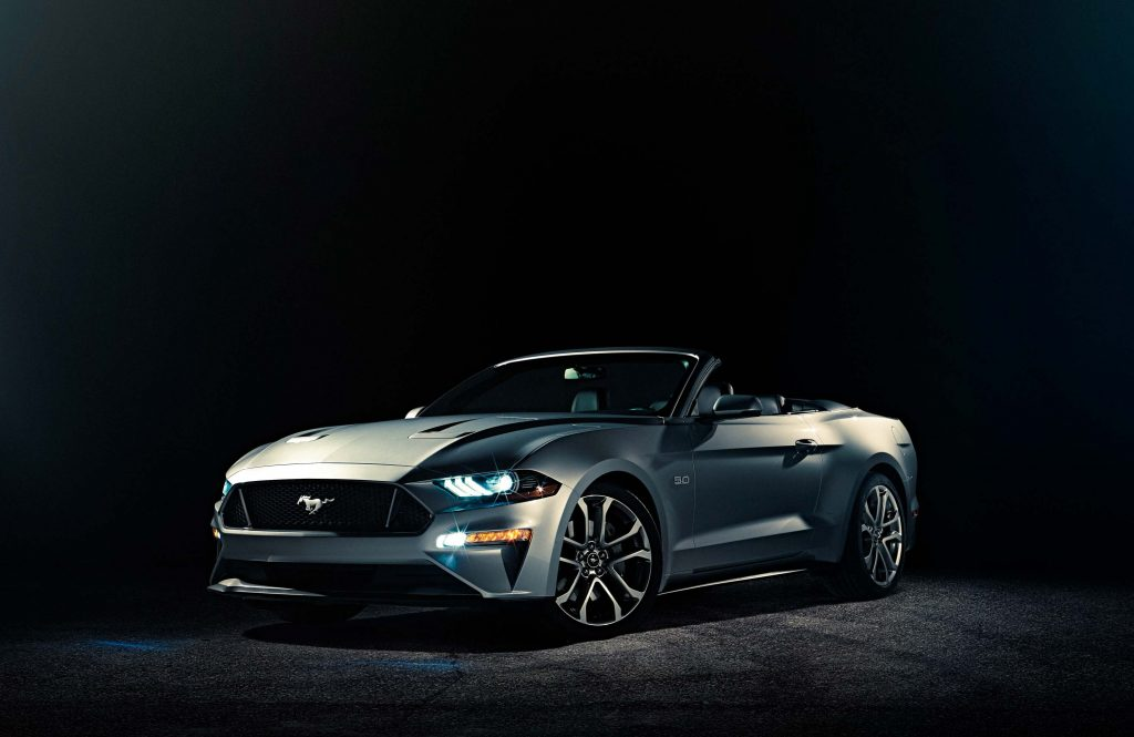 2018 Ford Mustang GT Convertible - ingot silver, front, top down, studio