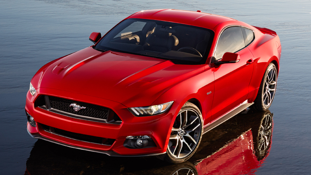 2015 Ford Mustang - front three-quarter, static, red