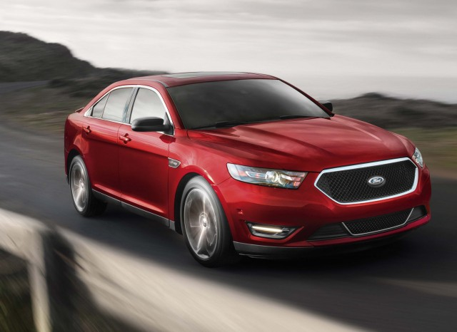 2015 Ford Taurus SHO - front, driving, red
