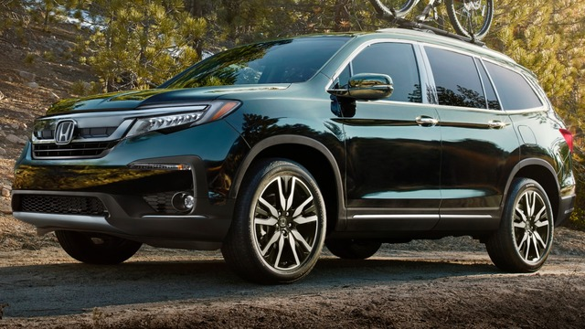 2019 Honda Pilot facelift - front, blue, bike on roof