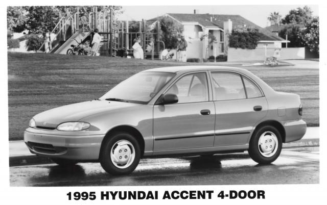 X3 Hyundai Accent (1995) - sedan, front, black and white