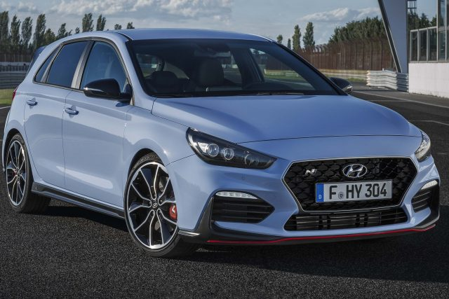 2017 Hyundai i30 N - front, blue, 5 door hatch