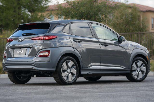 2019 Hyundai Kona EV - rear, gray
