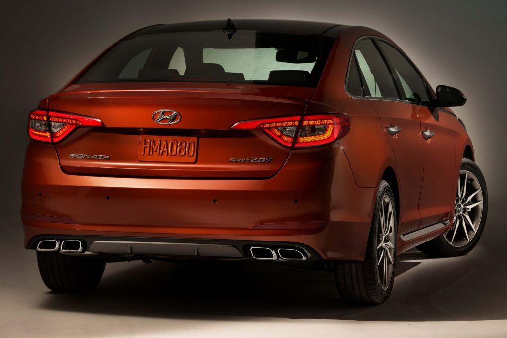 2015 Hyundai Sonata 2.0T - rear, red