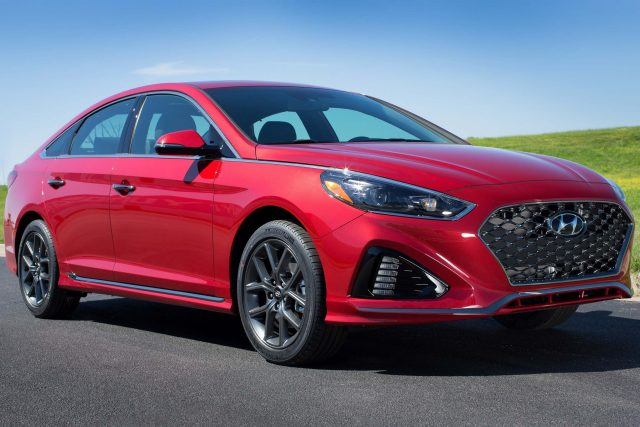 2018 Hyundai Sonata facelift - front, red