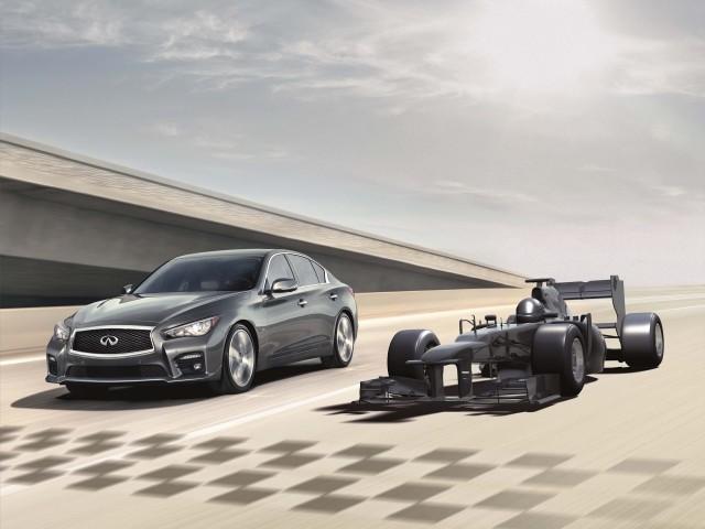 Infiniti Q50 and Red Bull Formula One car