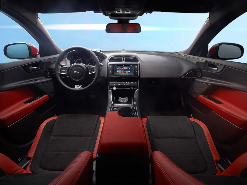 Jaguar XE S - interior with black and red leather trim