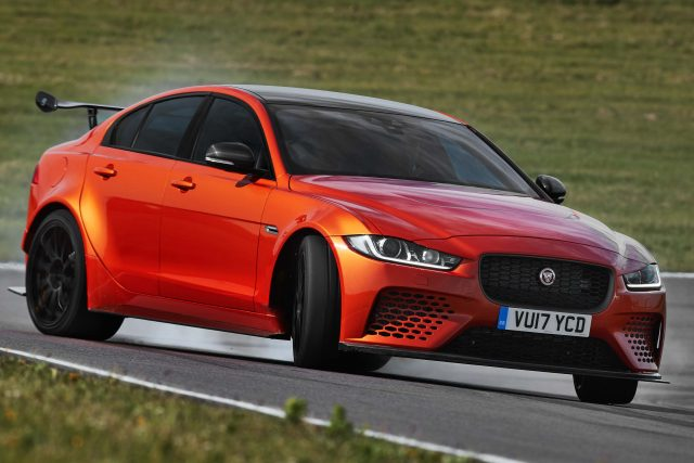 Jaguar XE SV Project 8 - front, orange, slide, sideways, burnout