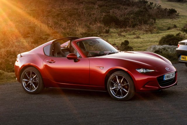 2017 Mazda MX-5 RF - front, red, sunset, top down