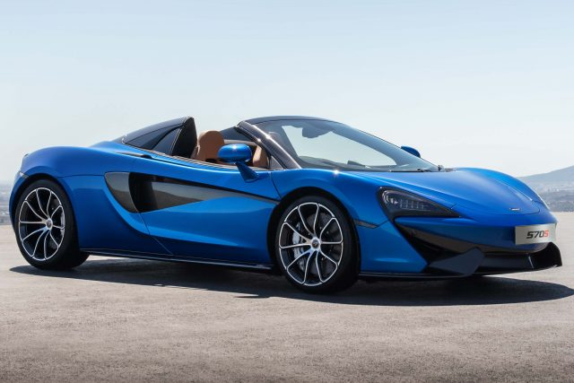 2017 McLaren 570S Spider - front, blue, top down