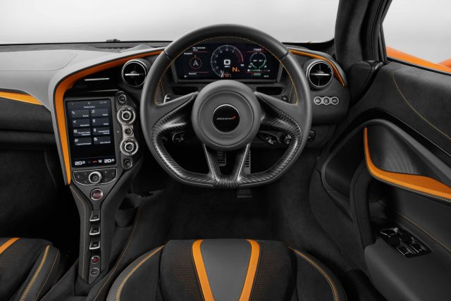 McLaren 720S - interior, orange, dashboard