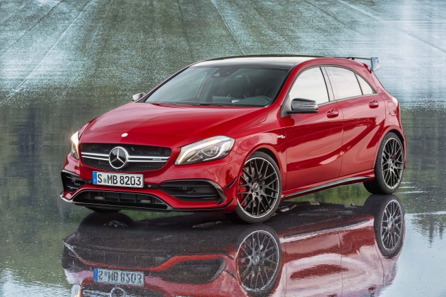 W176 Mercedes-Benz A45 AMG - Jupiter red, front, profile, static